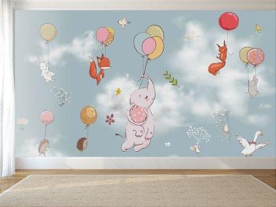 Painel de Parede Para Quarto Infantil Animais Voando com Balões