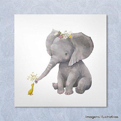 Quadro Infantil Elefante e Pato com flores