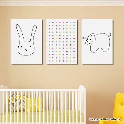 Kit de Quadros Infantil Coelho e Elefante Rosa