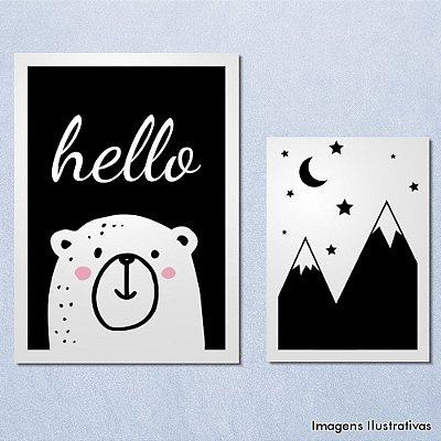 Quadro Infantil Urso e Montanha Preto e Branco