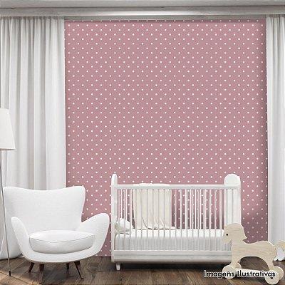 Papel de Parede Infantil Bolinhas Brancas com Fundo Rosa Texturizado Autocolante