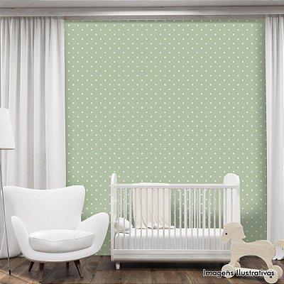 Papel de Parede Infantil Bolinhas Brancas com Fundo Verde Texturizado Autocolante