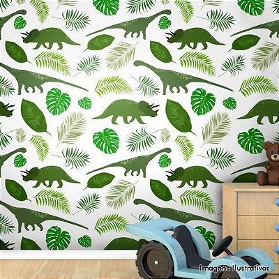 Papel de Parede Infantil Dinossauros Verdes Texturizado Autocolante