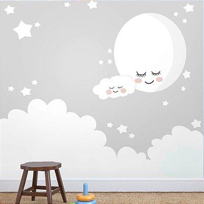 Painel de Parede Para Quarto Infantil Lua e Nuvem no céu