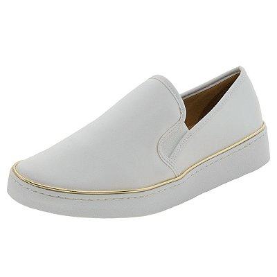 Tenis feminino branco em pelica modelo iate slipper slip-on fechado sola alta casual
