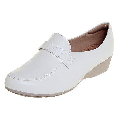 Sapato feminino fechado branco salto anabela mocassim enfermagem | enfermeira