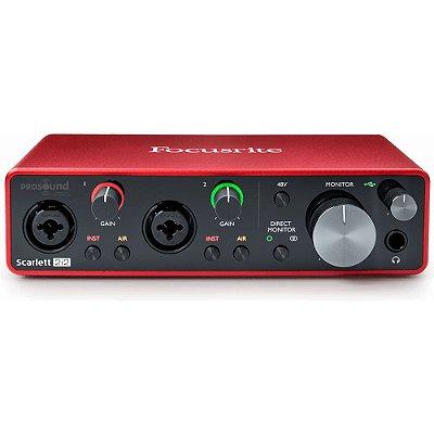 Interface de Áudio Focusrite Scarlett 2i2 3 Geração