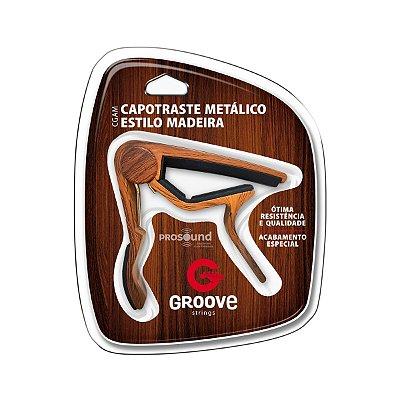 Capotraste Violão Aço e Guitarra Groove CGAM Madeira