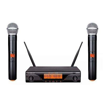 Microfone Sem Fio Kadosh K-412M UHF Duplo Bastão