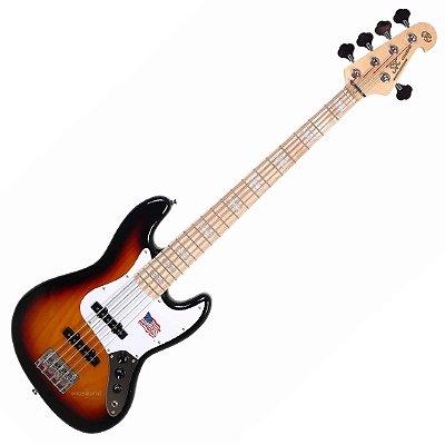 Contrabaixo SX SJB755 Ash Jazz Bass Passivo 5 Cordas Sunburst 3ts