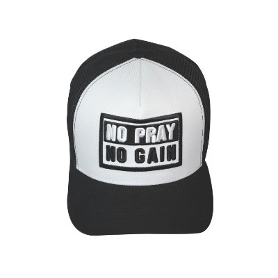 Boné No Pray No Gain Preto e Branco Trucker