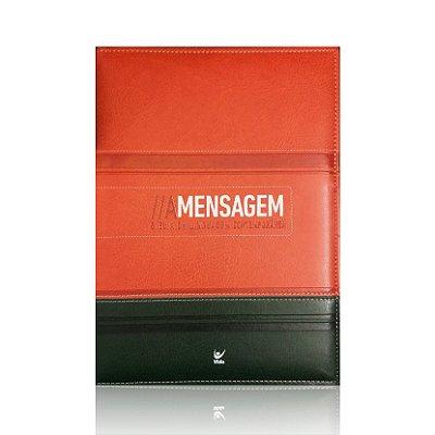 Bíblia A Mensagem - Capa Luxo Laranja e Verde - Bíblia em linguagem contemporânea