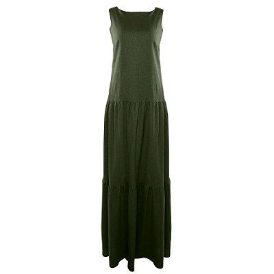 Vestido Verde Militar em Linho