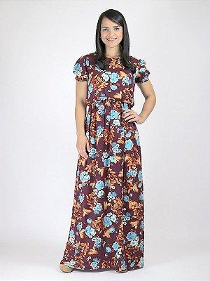 Vestido Longo Floral Bordô