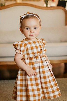 Vestido Infantil Xadrez Amarelo