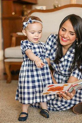 Vestido Infantil Xadrez Azul