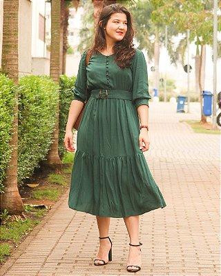 Vestido com Cinto Afivelado Verde