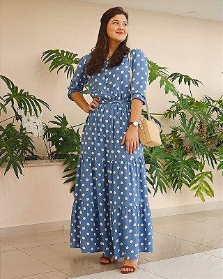 Vestido Longo Poá Azul