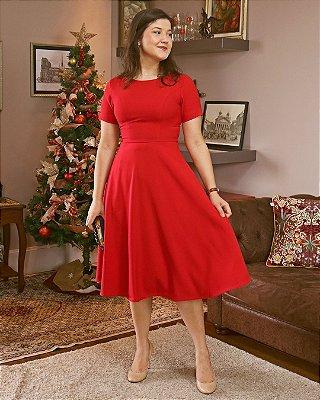 Vestido Godê Midi - Vermelho
