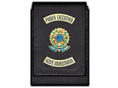 Carteira  Funcional Personalizada com Brasões e com Porta Documentos para Agente Administrativa