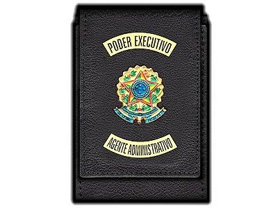Carteira  Funcional Personalizada com Brasões e com Porta Documentos para Agente Administrativo