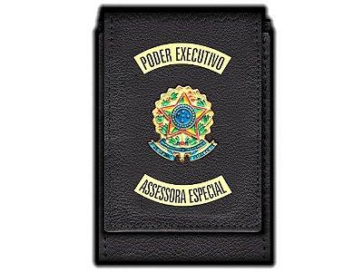 Carteira  Funcional Personalizada com Brasões e com Porta Documentos para Assessora Especial