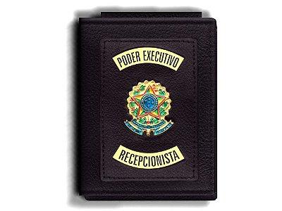 Carteira Premium Funcional Personalizada do Poder Executivo com Brasões para Recepcionista