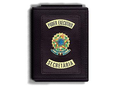 Carteira Premium Funcional Personalizada do Poder Executivo com Brasões para Secretária