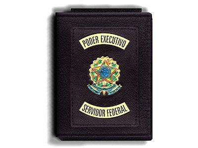 Carteira Premium Funcional Personalizada do Poder Executivo com Brasões para Servidor Federal