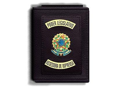 Carteira Premium Funcional Personalizada do Poder Legislativo com Brasões para Assessora de Imprensa