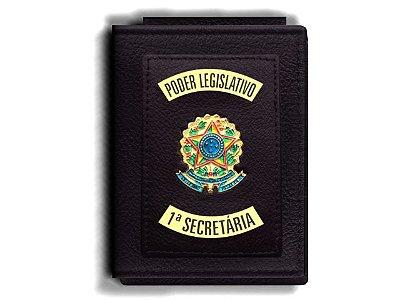 Carteira Premium Funcional Personalizada do Poder Legislativo com Brasões para Primeira Secretária