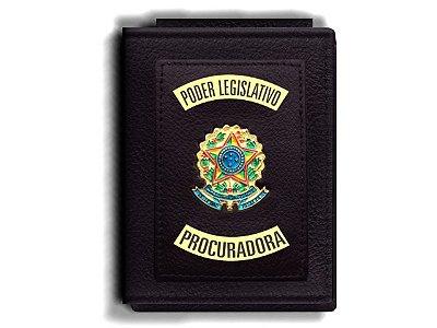 Carteira Premium Funcional Personalizada do Poder Legislativo com Brasões para Procuradora