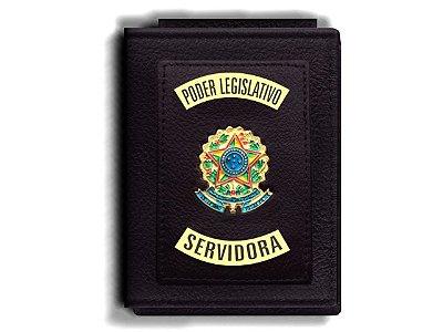 Carteira Premium Funcional Personalizada do Poder Legislativo com Brasões para Servidora