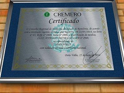 Diploma Premium Personalizado em Aço Escovado para Certificado de Pediatria pela Cremero