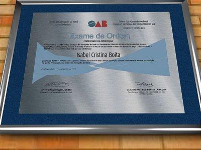 Diploma Premium Personalizado em Aço Escovado para Exame da Ordem dos Advogados - OAB
