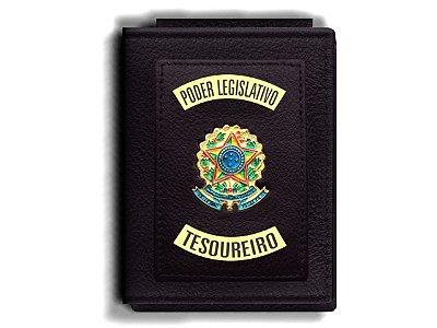 Carteira Premium Funcional Personalizada do Poder Legislativo com Brasões para Tesoureiro