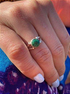 Anel em Prata 925 Indiano com Esmeralda Feito a Mão