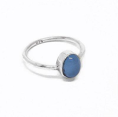 Anel de Prata 925 Indiano e Calcedônia Azul Feito a Mão