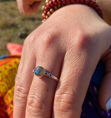 Anel em Prata 925 Indiano e Pedra Labradorita
