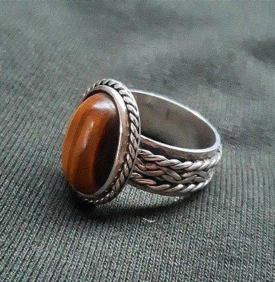 Anel de Prata Bali 950 com Pedra Olho de Tigre