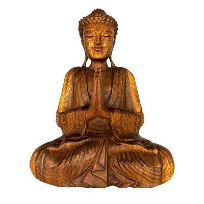 Buda Decorativo Escultura de Madeira Estátua - 42cm