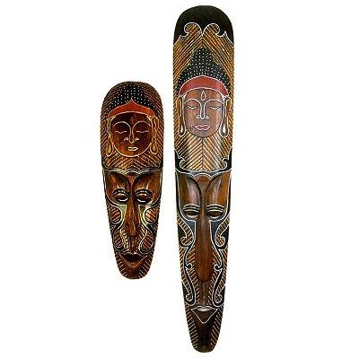 Máscara Decorativa Carranca Parede Indonésia Buda - 2 Pcs