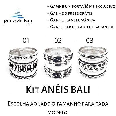 kit 03 Anéis em Prata Bali 925