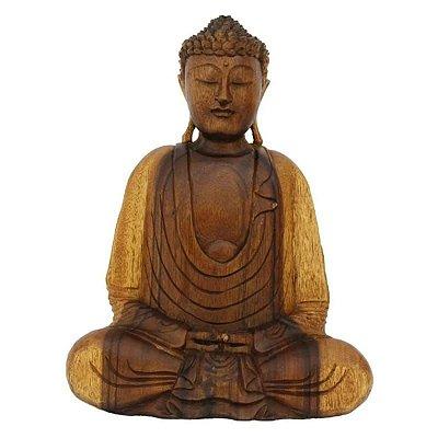 Estátua Buda Decorativo de Madeira  Escultura - 43cm