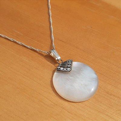 Pingente feminino Madrepérola e Prata 925 mandala