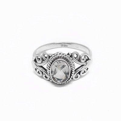 Anel de Prata 925 com Pedra Natural Cristal