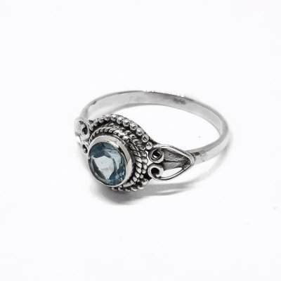 Anel feminino de Prata 925 indiano com Topázio Azul