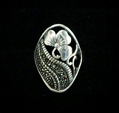 Anel Flor em Prata Bali e Marcassitas