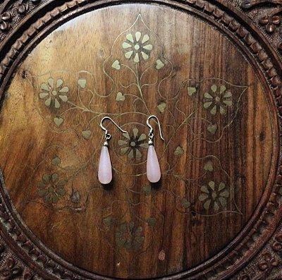 Brinco em Prata Bali925 e Quartzo Rosa