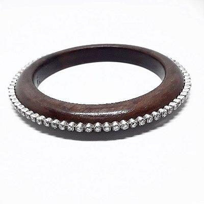 Bracelete em madeira com Prata Bali 925 cravejado com zircônias
